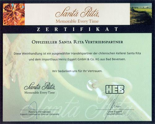 Santa Rita Zertifikat